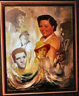 Painting of Elvis and his parents