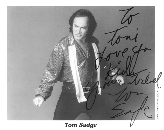 Autographed Photo of Tom Sadge to Toni
