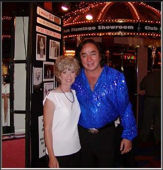 Toni McLaughlin and Tom Sadge as Neil Diamond outside the Flamingo Laughlin Showroom  ..Photo by Dennis McLaughlin
