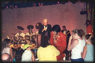 Charlie Hodge with Lou Vuto as ELVIS PRESLEY, Memories Theatre, July 16, 2001