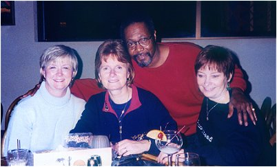 Vince poses with pretty fans, Debbie, Linda, and Kathy