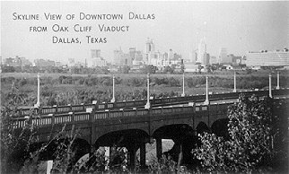 Skyline view of Downtown Dallas from Oak Cliff Viaduct